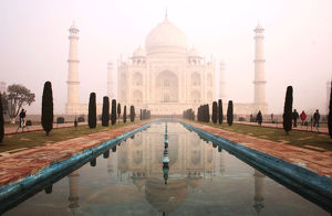 View Of Taj Mahal With Waterfront