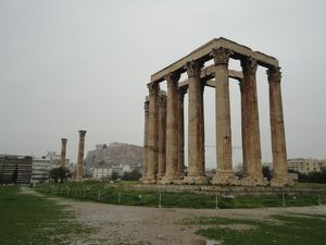 Side View on the Temple of Olympian Zeus, Athens, Greece