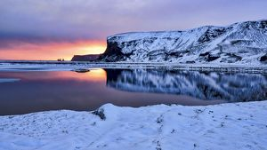 Warm sunset at cold landscape, Vik, Iceland