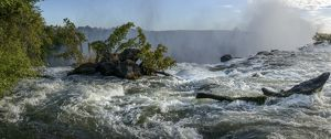 The Zambezi River just above The Eastern Cataract. Victoria Falls. Livingstone. Zambia