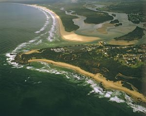 Aerial view of Yamba at the mouth of the Clarence River,