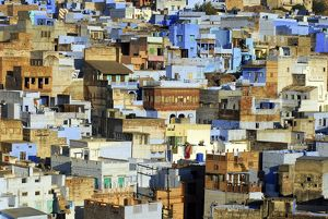 The city is dubbed the Blue City for the painted houses in its ancient heart