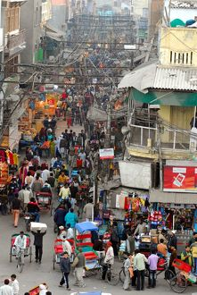 A crowded street in Old Delhi