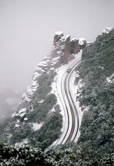 Dangerous steep road in winter