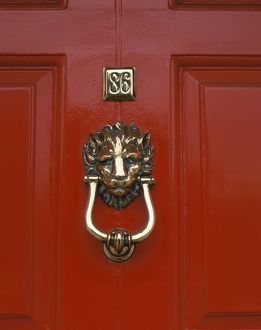 Door knocker on red front door,