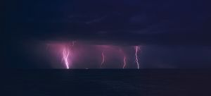 Electrical storm with lightning bolts