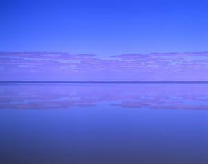 Lake Eyre South, with the surface covered with water. Lake Eyre National Park