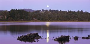 Moonrise over the Tamar River.