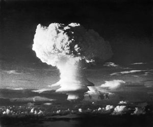 The mushroom cloud formed from the first hydrogen bomb explosion, code named Ivy Mike