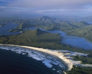 Port Davey (southern shores), Stephens Bay, Hannant Inlet, and Mount Rugby beyond,