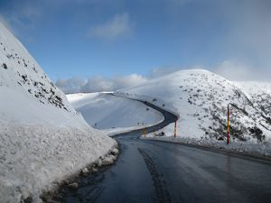 Road descending Mount Hotham, in winter
