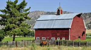 Traditional red-painted timber barn