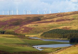 Wind turbines on hill above Whiteadder Reservoir,