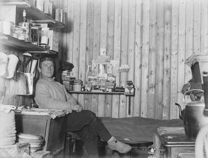 George Percy Abbott, sitting by his bunk