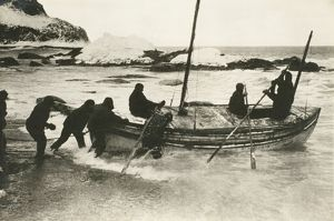 The James Caird setting out for South Georgia