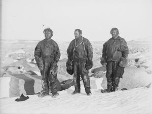 Northern Party after winter in snow cave, 1912 (Dickason, Campbell, Abbott)