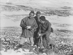 Raymond Priestley, George Abbott and Victor Campbell discussing geology