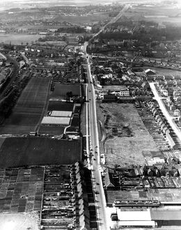 Aerial view Swanley, Kent, England and the main road that runs through the town