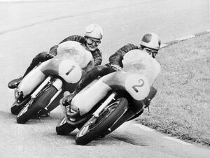 Assen, Holland: Britain Mike Hailwood (N0. 1), worlds motor cycling champion, riding
