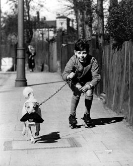 Boy rollerskating on the pavement with his pet dog on a lead, who is carrying