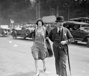 Captain and Mrs McBean at Goodwood Racecourse, Sussex, UK. 1927