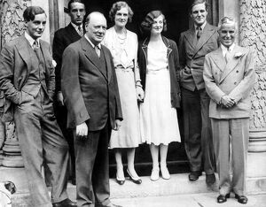 Charlie Chaplin with Mr and Mrs Winston Churchill and members of a house party at