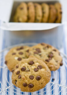 Chocolate chip cookies on cooling rack credit: Marie-Louise Avery / thePictureKitchen
