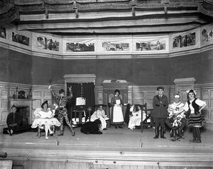 Convalescent soldiers in pantomime at Eastbourne. Officers, NCOs and men of Summerdown