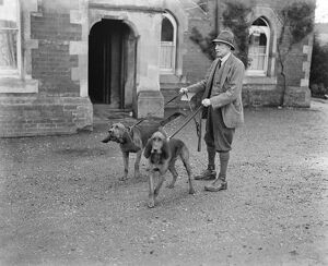 Dog detectives. Man hunting trials at Savernake. Colonel Johnson with his bloodhounds