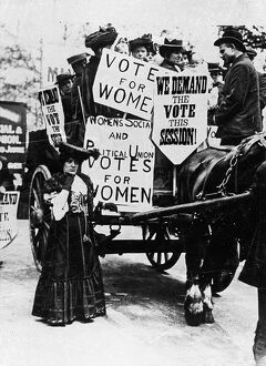 Early suffragette rally at around the turn of the 20th Century. by the Womens Social