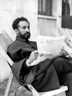 Emperor Haile Selassie I of Abyssinia is enjoying a seaside holiday at Eastbourne