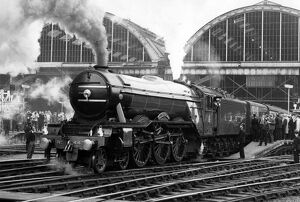 The Flying Scotsman pulls out of London 's King's Cross station to make the last
