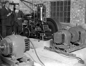 Generators at the Commodore Cinema, Orpington, Kent in the 1930s, with cinema staff