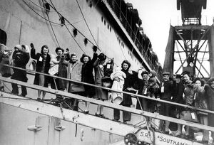 GI Brides on board. British war brides leave for USA, 1945