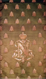 Green and Gold Damask with Crest of Napoleon III and Bees