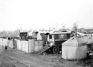 Gypsy caravans and tents on Belvedere Marshes , Kent