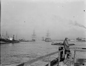 HMS Worcester and the SS Cutty Sark training ships at Greenhithe, Kent, for the