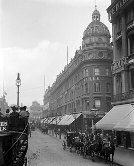 London Street scene. The busy street outside the Maples and Co.Furniture Store