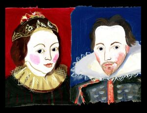 Michaela Gall - tudor portrait plates Anne Hathaway and William Shakespeare