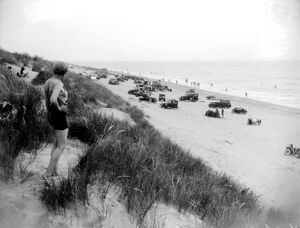 Motor cars on Camber Sands, Sussex. 1933