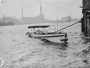 The motor launch Daphne swamped following a collision on the River Thames at Greenwhich