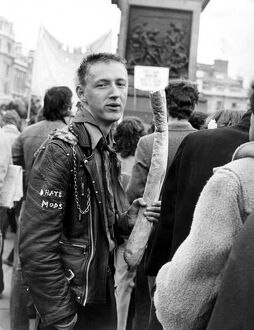 National Characters - Rocker in Trafalgar Square , London ' I hate Mods !&quot