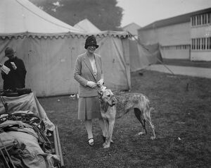 Richmond dog show. Lady Margaret Hamilton with the Irish wolfhound owned by her mother