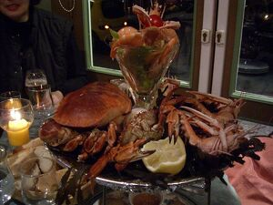 Seafood platter with a selection of crab, lobster and prawns served as a main course