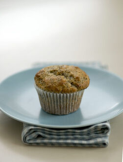 Single poppyseed muffin on blue plate on check napkin, on painted table. credit