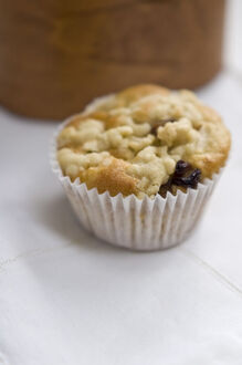 Small currant muffin topped with grated apple credit: Marie-Louise Avery /