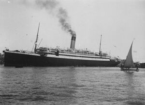 SS Megantic coaling in Port Said harbour with troops on board for the Far East. 4