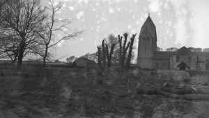 St Marys Church, Sompting, Sussex with its Saxon tower. 14th March 1931
