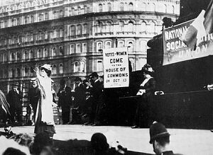Suffragettes; Mrs Pankhurst speaking in Trafalgar Square, October 1908. Flora Drummond