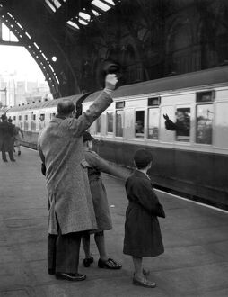Train leaving St Pancras Station 1940's